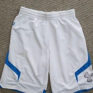Men's large UA white and blue athletic shorts